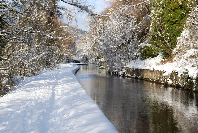 Canal feeder on a winters day