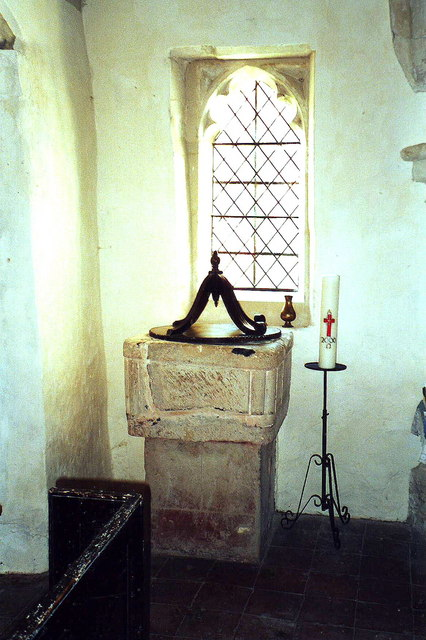 Font and Paschal Candle, All Saints, Croydon, Cambs.