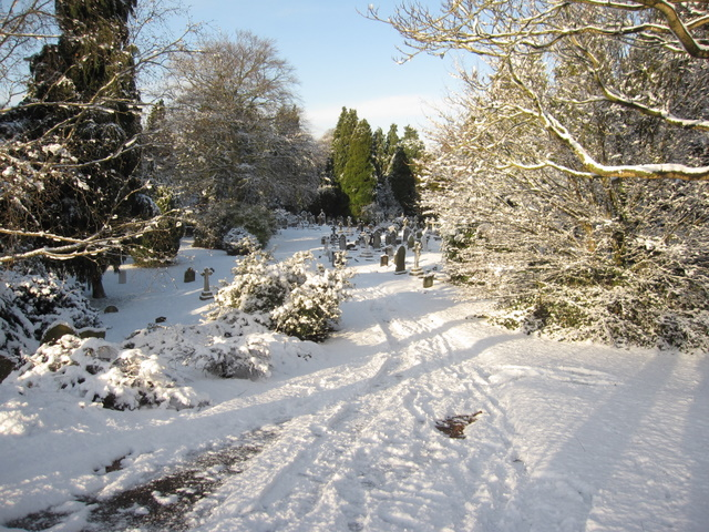 Overleigh old cemetery in the  snow