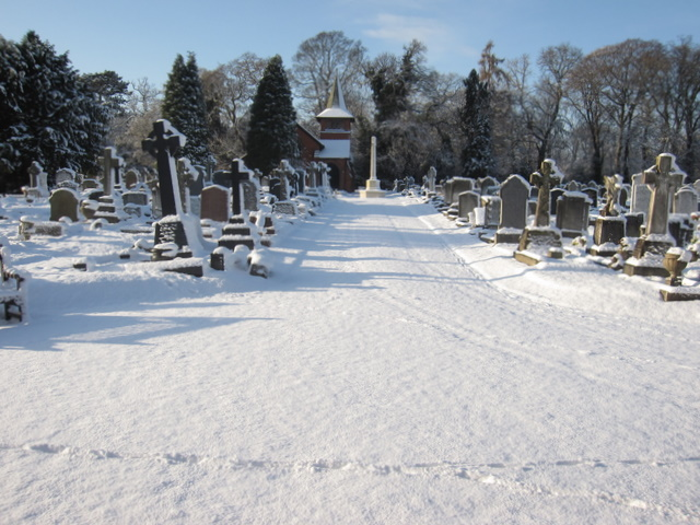 Overleigh new cemetery in the  snow