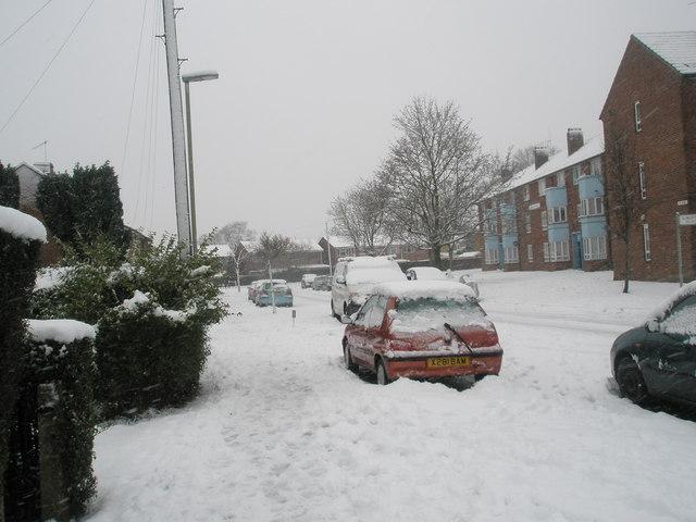 Blendworth Crescent after a heavy snowfall
