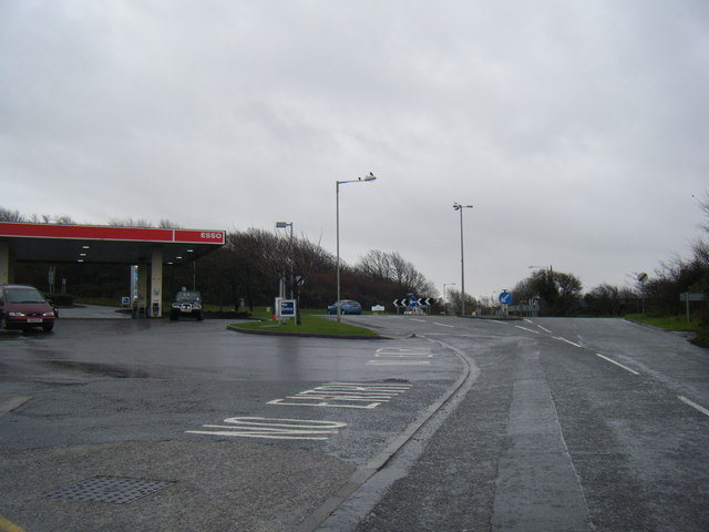 Roundabout and services on Porthcawl Road