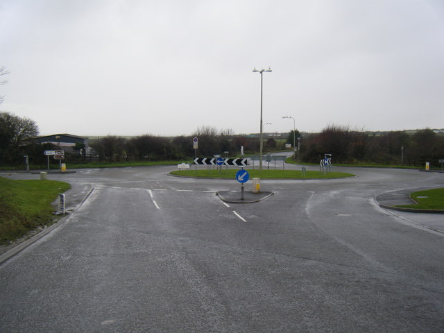 Roundabout at south end of South Cornelly bypass.