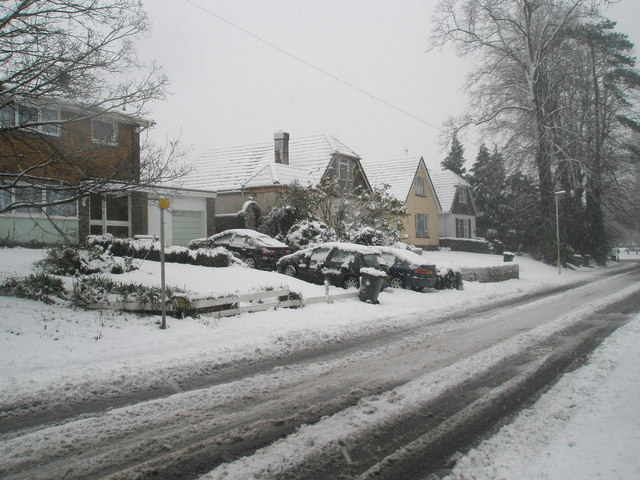 Snow covered homes in Stockheath Lane