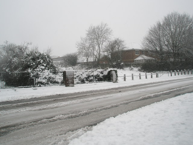 Mid section of a snowy Barncroft Way
