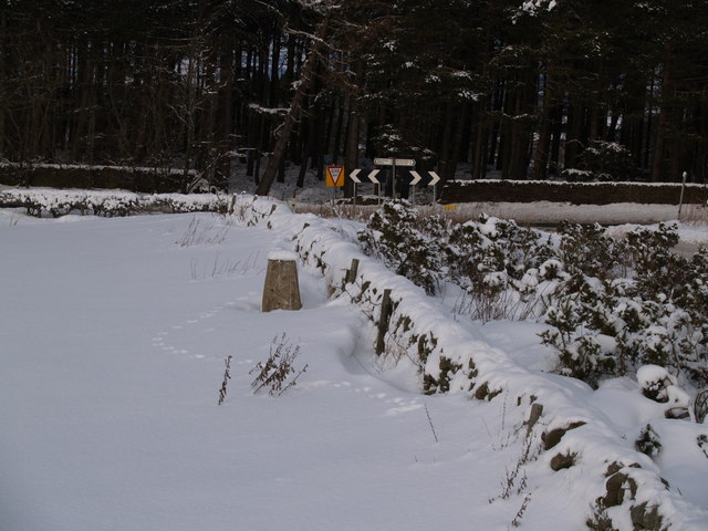Trig point at Barley Hill in Snow