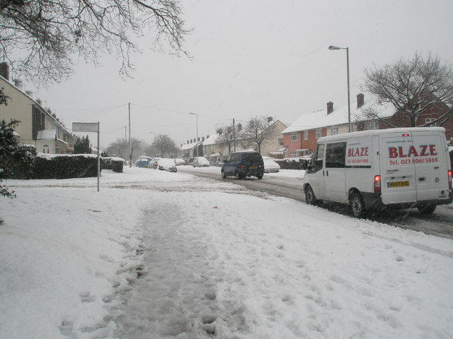 Approaching Woodgreen Avenue from a snowy Barncroft Way