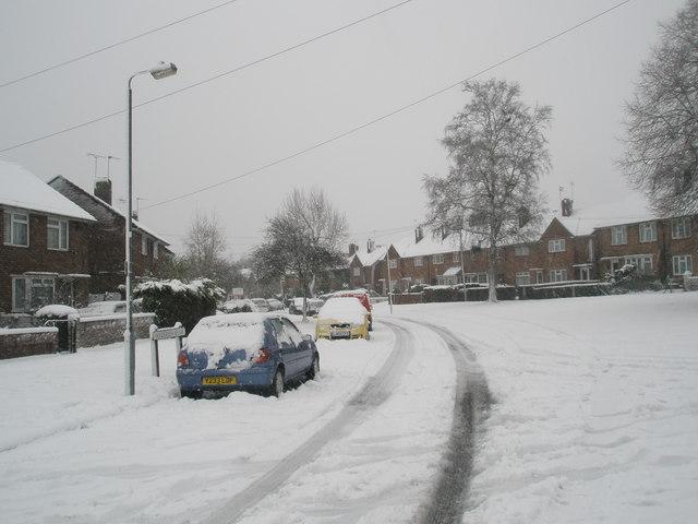 Lamppost in a snowy Woodgreen Avenue