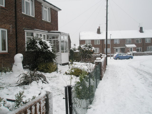 Snowman in Harestock Road