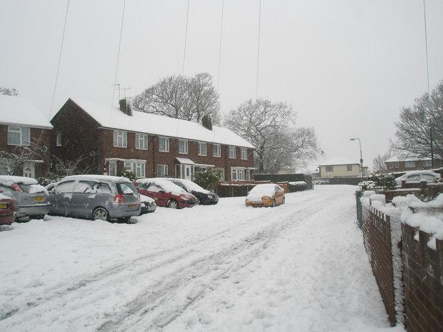 A snowy Harestock Road