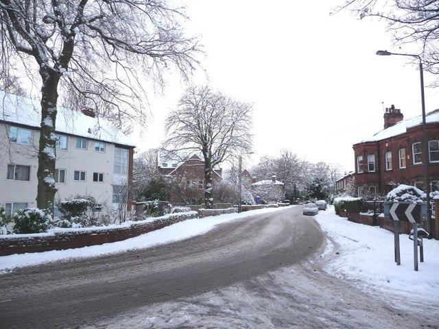 The junction between College Grove Road and Eastmoor Road
