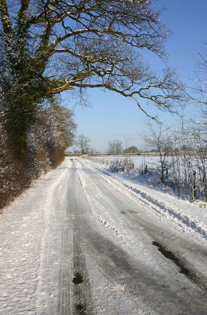 Country lane in the snow