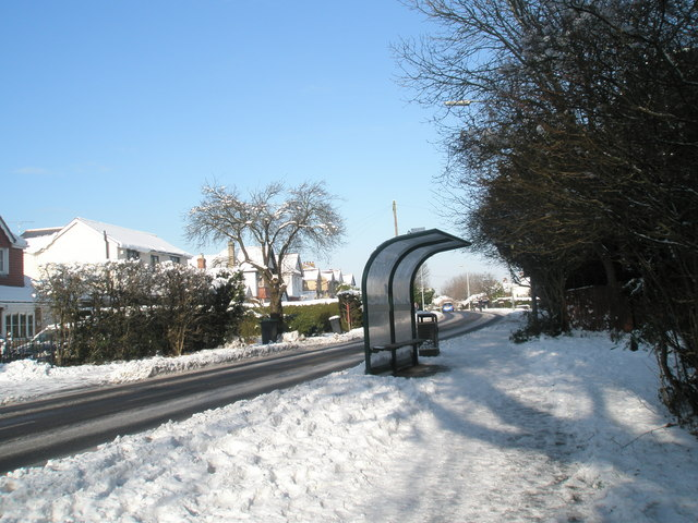 A snowy bus stop on the Hulbert Road