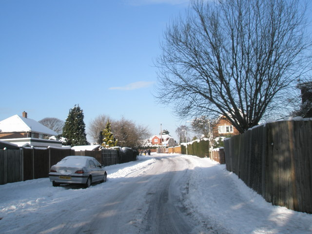 Looking from Hulbert Road into a snowy Scratchface Lane