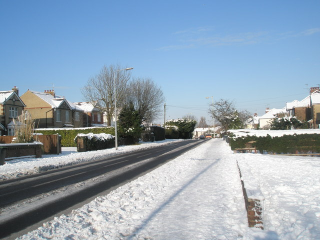 Looking up a snowy Hulbert Road