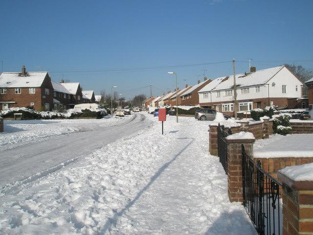 Postbox in a snowy newbarn Road