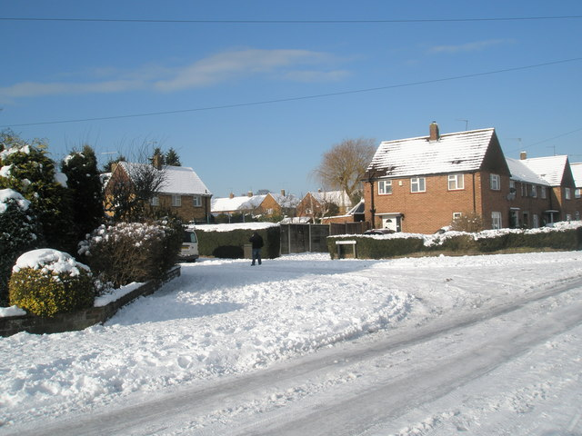 Junction of Newbarn Road and a snowy Gwatkin Close