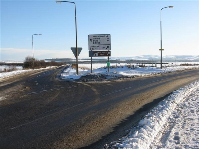 Snowy junction at Tranent