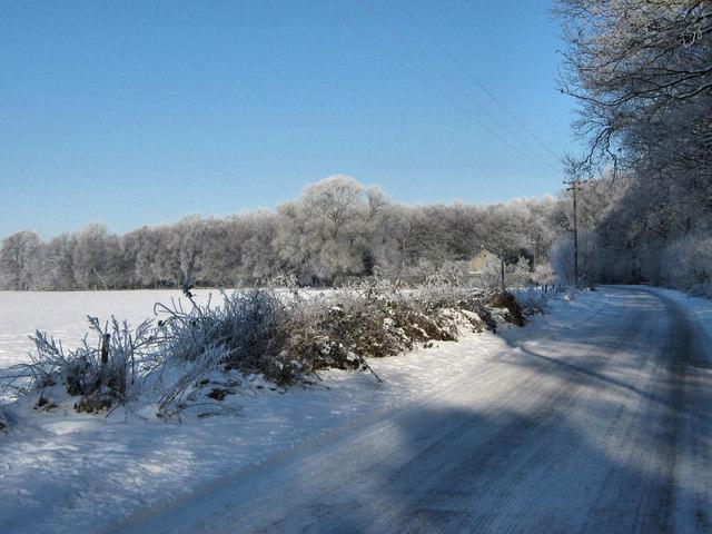 Snowy lane near Brereton Heath