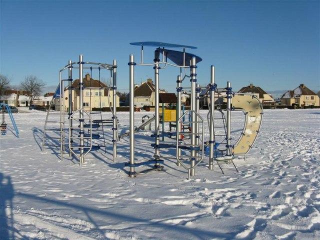 Children's playpark in the snow