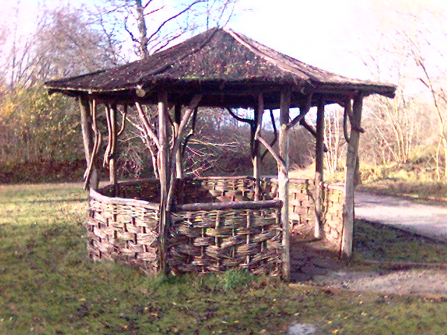 Hut on path at Crich Tramway Museum, Derbyshire