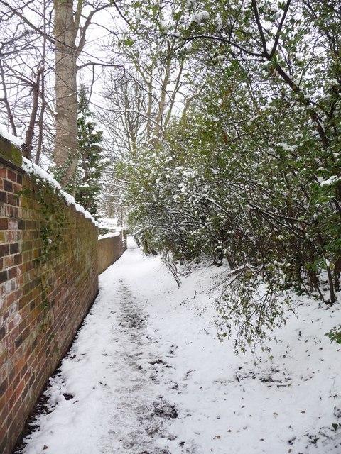 Snowy footpath, off Westfield Road