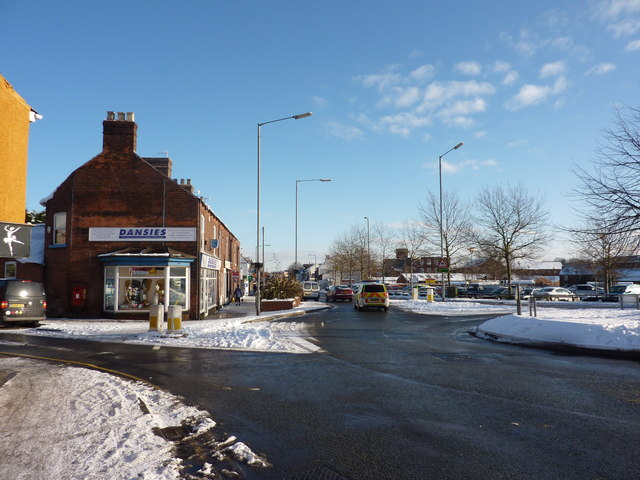 Chatsworth Road roundabout , with snow