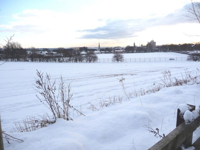 The 'hospital field' covered in snow