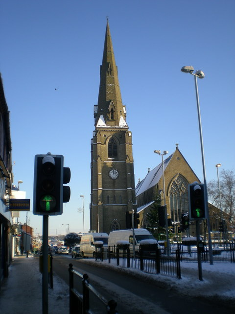 Snowy church and blue sky