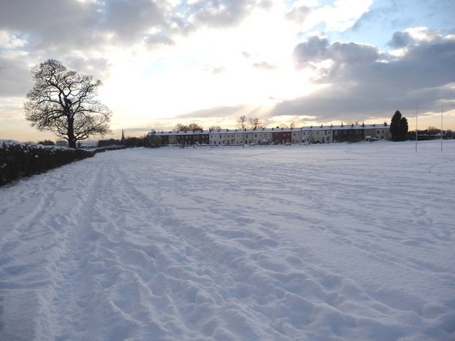 Informal paths along the sports field, parallel to North Avenue