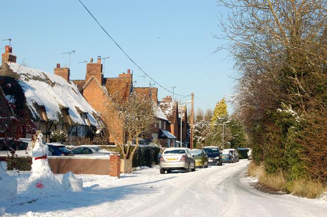 Eathorpe village in the snow