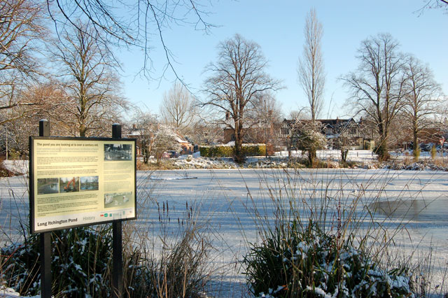 Ice on the pond, Long Itchington