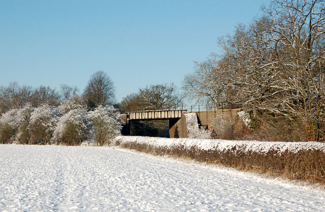 Disused railway bridge in the snow east of Marton