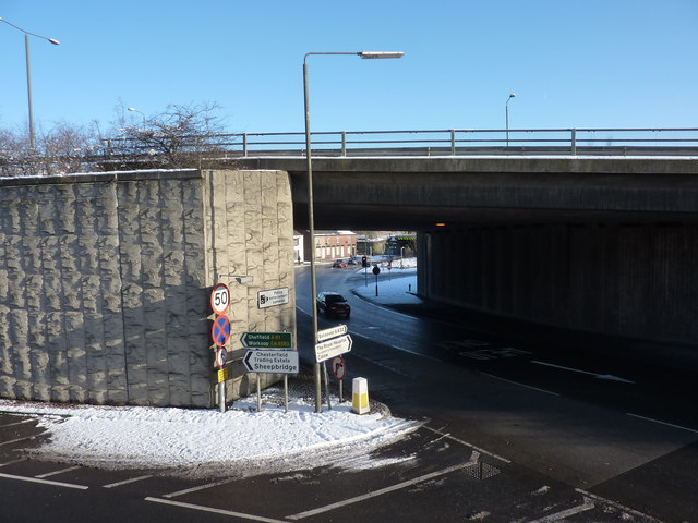Flyover and road junction, Chesterfield