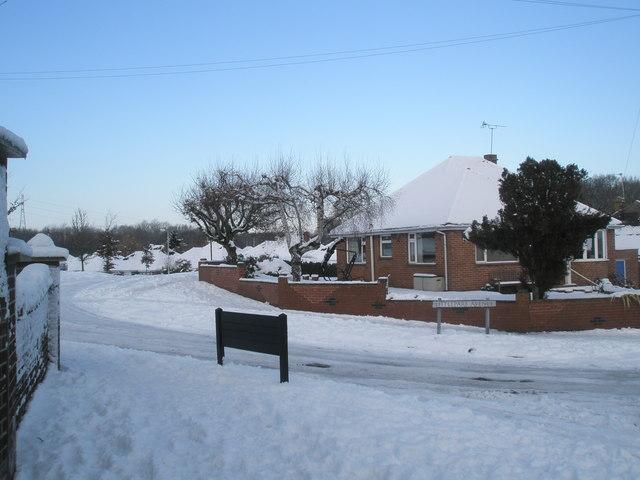 A snowy scene in Littlepark Avenue