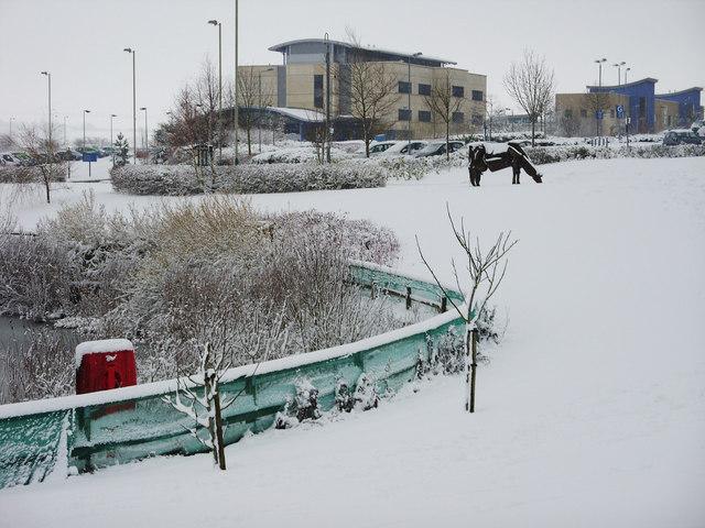 Great Western Hospital in the snow, Swindon