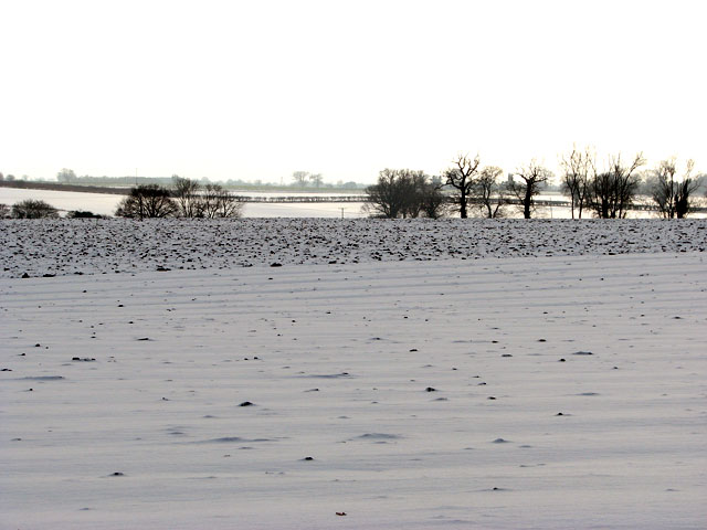 Snow-covered fields west of Cross Lane