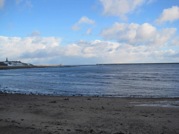 Sandy beach inside the harbour, North Shields