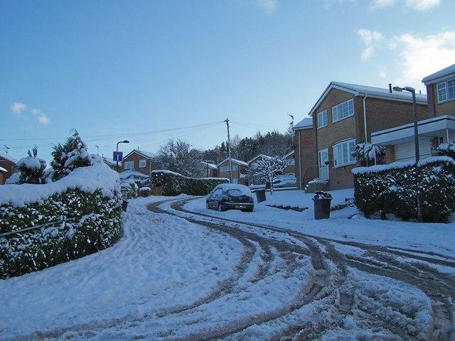 January 2010 - Church Close in the snow, Oughtibridge - 1