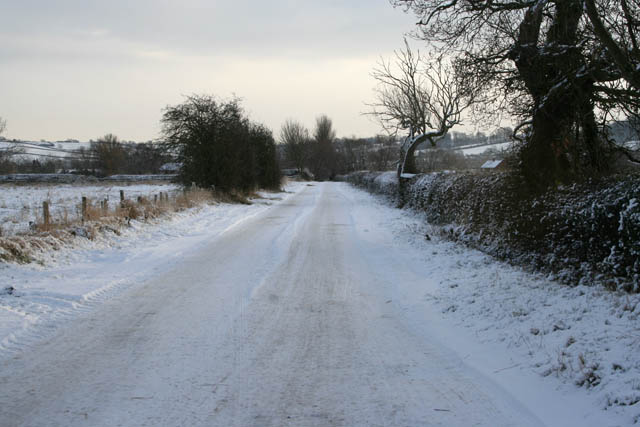Road to Lodge Farm in the snow