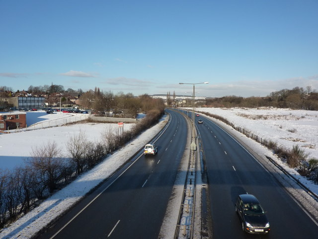 Looking north over the A61