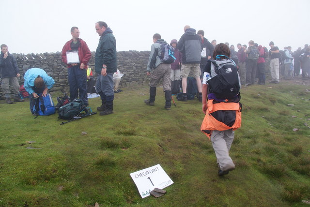 Charity checkpoint on Pen-y-Ghent