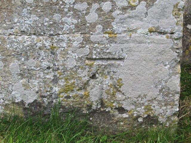 Bench mark on the church
