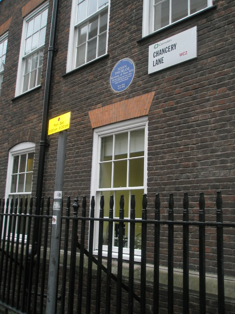 Blue plaque in Chancery Lane