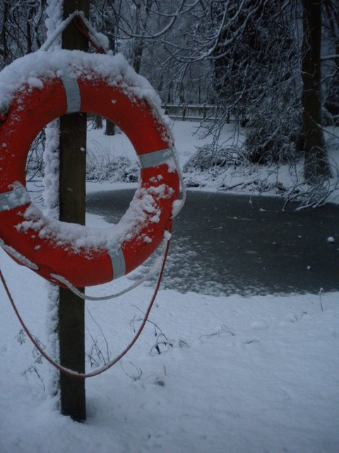 Lifebuoy at the water's edge, Golders Hill Park NW11