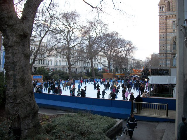Winter ice skating outside Natural History Museum