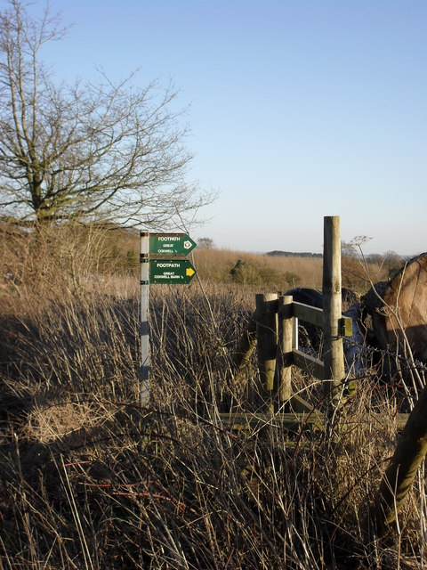 Footpath signs beside the B4019