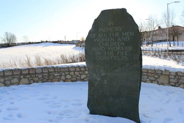 Mineworkers memorial stone.