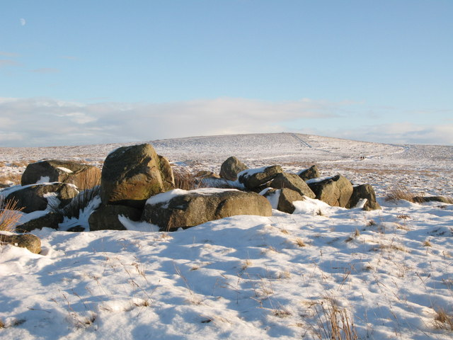 Rock outcrop on Haggerstone Moss in the snow