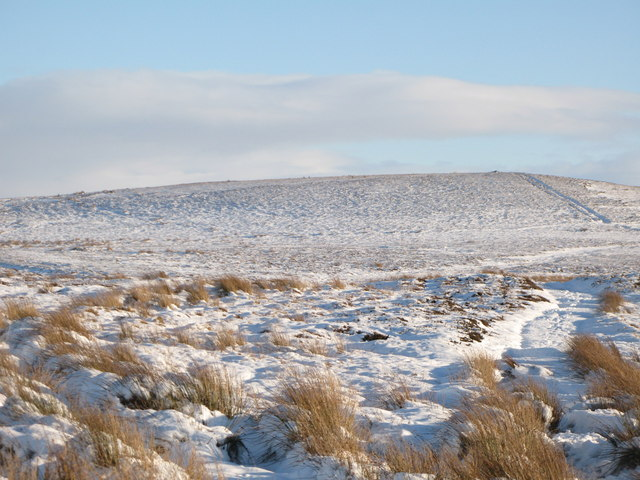 Snow covered moorland below Hill 401